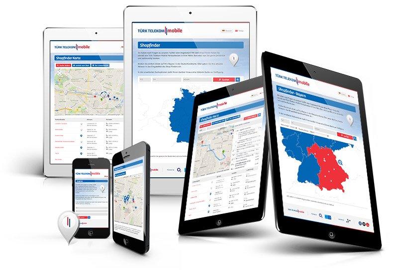 Shopfinder Applikationen für Türk Telekom Mobile / o2