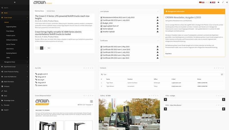 Typo3 Intranet Relaunch für Crown Gabelstapler GmbH & Co. KG 12