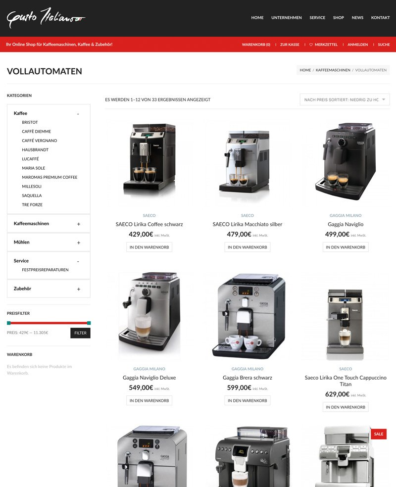 Gusto Italiano WooCommerce Online Shop System, A-DIGITAL one