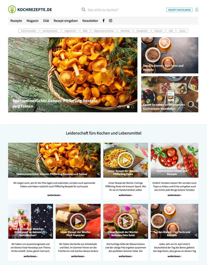 Kochrezepte.de Portal Relaunch