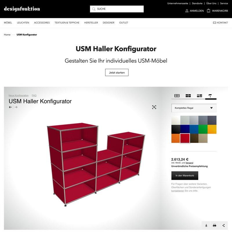 Magento Extension - Individual Programmierung für den USM Haller Konfigurator - Shop Designfunktion 7